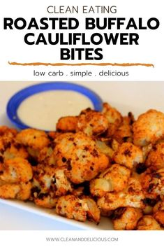 These Roasted Buffalo Cauliflower Bites are an easy and flavorful snack that are perfect for munching (or a Tuesday night dinner!) Tossed with oil and spices, they're roasted in the oven until crispy and coated with hot sauce to create the best healthy appetizer! (Gluten Free, Vegan   Low Carb) Healthy Gluten Free Recipes, High Protein Recipes, Vegetarian Recipes, Snack Recipes, Buffalo Cauliflower Bites, Cauliflower Recipes, Healthy Appetizers, Healthy Sweets, Hot Wing Sauces