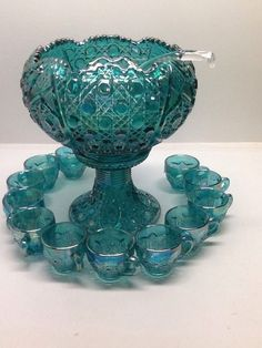 Vintage Iridescent Blue Carnival Glass Punch Bowl Set With 12 Glasses Very Nice! in Pottery & Glass, Glass, Glassware, Carnival Glass, Contemporary Unknown Maker Fenton Glassware, Antique Glassware, Turquoise, Aqua, Cut Glass, Glass Art, Blue Carnival Glass, Vases, Punch Bowl Set