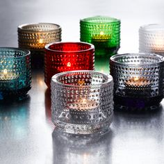 Kastehelmi Tea light bowl (clear, grey, sand, light blue, water green, apple green, green, ocean blue, frosted, rain, red, forest green, pale pink, salmon pink, orange, lavender, turquoise) 64mm, $15USD - $44
