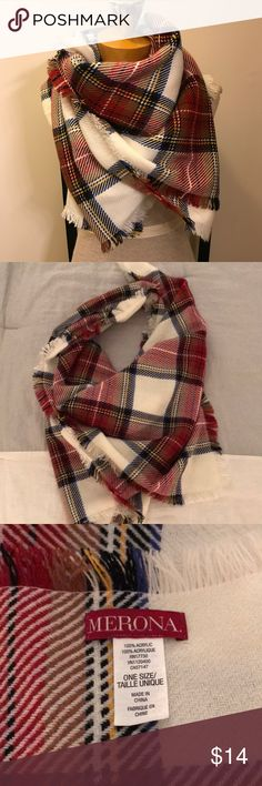 """NWOT Merona plaid blanket scarf NWOT Medina plaid blanket scarf!  Perfect & on trend for this fall and winter!!  Super soft and warm. One size. Wear in multiple ways, I like the blanket style ties behind your neck. When laid flat is a long rectangle , measures approx 79"""" x 30"""". No rips or stains, smoke free home. Merona Accessories Scarves & Wraps"""