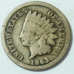 1863 Civil War Era Copper Nickel Indian 1 Cent Penny Coin
