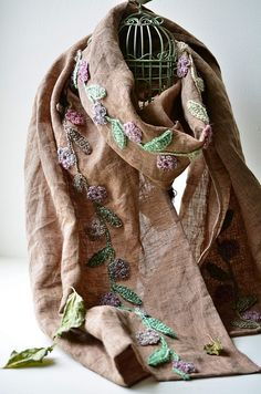 Outstanding Crochet: Linen scarf with crochet embellishment.