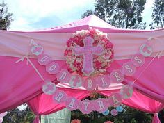 God Bless Banner With Matching Name banner....This Listing Is For A Matching Name banner Up To 6 Letters...Baptism..First Communion.. via Etsy