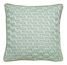 Malibu pillow, part of Lelievre Lounge collection, is square and decorative featuring beautiful tribal pattern on a luxurious, flame retardant velvet fabric with the appearance of mohair.