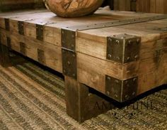 "#ARTmetal © ideas. www.aias.se  Rustic coffee table by AMIGHINI ANTIQUE & CUSTOM DOORS Overall Dimension: 70"" w x 18"" h 35 1/2"" d  Material: Mahogany wood  http://www.amighini.com/product/rustic-coffee-table/2011CG-009/5244/"