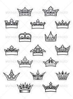 Heraldic king and queen crowns set for design. Editable EPS8 and JPEG (can edit in any vector and graphic editor) files are includ