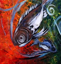 Modern Abstract Fish Art. Acrylic on stretched canvas, three 24x48 inch panels (48x72 inches total)