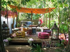 34 colorful Bohemian Garden designs to embrace . 34 colorful Bohemian Garden designs to hug In modern cities, it is ne. Outdoor Rooms, Outdoor Gardens, Outdoor Living, Outdoor Decor, Wood Gardens, Indoor Outdoor, Outdoor Daybed, Outdoor Life, Bohemian Decor