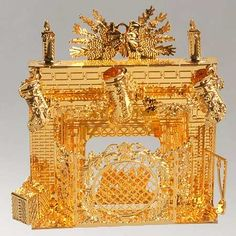 Danbury Mint Gold Plated Ornaments | DANBURY MINT Annual Gold Christmas Ornaments 2005 - Festive Fireplace
