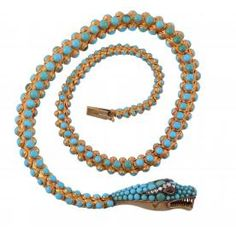An early Victorian turquoise, garnet and diamond serpent necklace, circa 1840