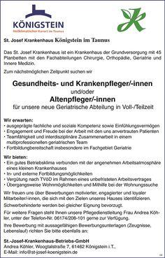 Gesundheits- und Krankenpfleger /innen und oder Altenpflegerinnen / Altenpfleger für neue Geriatrische Abteilung, Vollzeit / Teilzeit