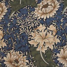 tyget Chrysantemum från William Morris® (FM102-03) William Morris, Textiles, Motif Floral, Bob Ross, Chalk Pastels, Illuminated Letters, Wood Engraving, Linocut Prints, Woodblock Print
