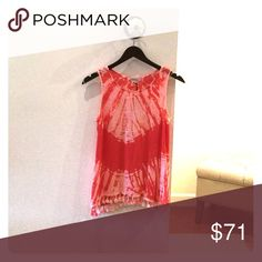 REDhaute top Tie dye top with fringe Red haute Tops Tank Tops