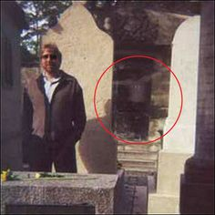 Eerie ghost photo at Cemeterie Pere Lachaise, Paris  ~(Fun pic, but i think it looks fake)