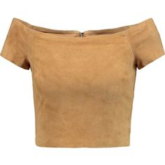 Alice + Olivia Gracelyn cropped off-the-shoulder suede top (1.240 RON) ❤ liked on Polyvore featuring tops, crop top, shirts, tan, off the shoulder tops, off shoulder shirt, suede top, beige crop top and off the shoulder crop top