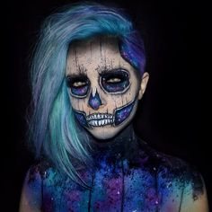 Filmed my galaxy skull look it'll be up on my channel tomorrow! Link in my bio…