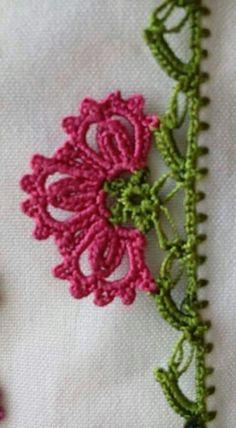 Three-petal flower – İğne Oyaları ve El İşleri Crochet Trim, Filet Crochet, Tatting Lace, Third, Crochet Patterns, Embroidery, Creative, Flowers, Projects