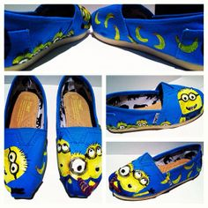Despicable Me Minions Hand Painted Toms for by all4theloveofshoes, $85.00 @Jayla Garoutte Prather