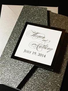 Glitter Wedding Invitation, Pocketfold Wedding Invitation, Calligraphy Wedding Invitation - MEGAN VERSION GLITTER POCKETFOLD