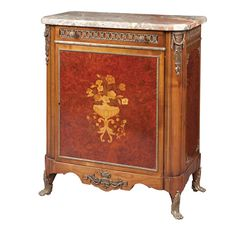 Louis XVI Style Gilt-Metal Mounted - Marquetry Inlaid Burl-Walnut, Mahogany, Satinwood and Tulipwood Side Cabinet 20th Century