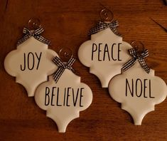 Farmhouse, Rae Dunn Inspired porcelain tile ornaments, measurements are There are 4 in this set. All Things Christmas, Christmas Trees, Christmas Decorations, Homemade Christmas, Christmas Crafts, Farmhouse Christmas Ornaments, Arabesque Tile, Happy Birthday Jesus, Tile Crafts