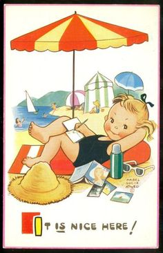 Mabel Lucie Attwell postcard | eBay it's nice here  beach ocean art toddler girl
