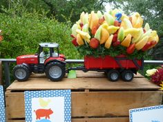 tractor birthday cake - fresh fruit and healthy LETS GET THIS PARTY STARTED!!!!
