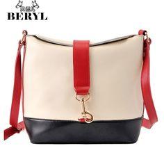 24b62272c7 Brand Fashion Women s Shoulder Bags Vintage Panelled Women Messenger Bags  PU Leather Bucket Bag Handbags