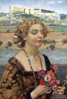 Eleanor Fortescue-Brickdale, Petrarch's Laura at Avignon, early 20th.c.