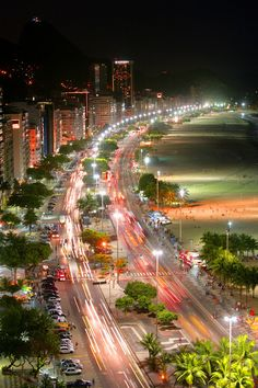 Rio Copacabana at night, Brazil