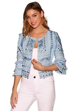 Your new lightweight summer jacket is cut in an easy open silhouette with three quarter sleeves, a jewel neckline and layers of fringe, pom-pom and mirror embellishment. Mirror Jacket, Boho Outfits, Fashion Outfits, Embroidered Leather Jacket, Clothes For Sale, Clothes For Women, Stylish Dresses For Girls, Pakistani Dress Design, Indian Designer Outfits