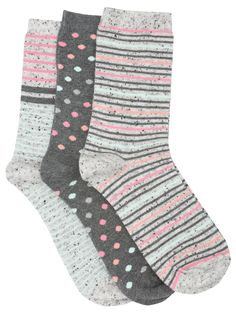 M&Co. Accessories Spot stripe ankle sock three pack