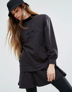 Ellesse Relaxed Sweat Dress With Double Layer Peplum Hem - Black