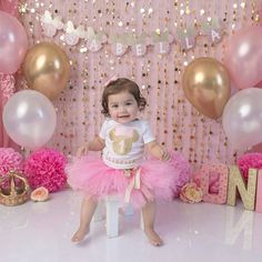 ideas lighting pink etsy for 2019 1st Birthday Photoshoot, 1st Birthday Party For Girls, Girl Birthday Decorations, Girl Birthday Themes, Birthday Tutu, Minnie Mouse First Birthday, Mickey Birthday, Mickey Mouse, Birthday Girl Pictures