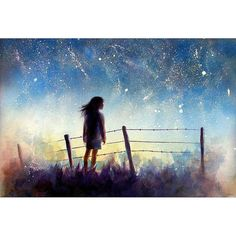 the Starry Night Art   watercolor landscape print  by AlisaPaints, $28.00
