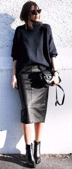 leather skirt midi