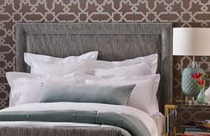Heatherly Design 'Bailey' Bedhead in Tabuk Pewter Chenille featuring stunning Schumacher wallpaper.