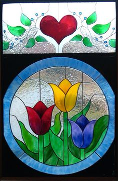 Gallery Glass Class: It's time for Love, Hearts and Flowers! Modern Stained Glass, Stained Glass Quilt, Stained Glass Flowers, Faux Stained Glass, Stained Glass Panels, Glass Painting Patterns, Stained Glass Patterns Free, Glass Painting Designs, Stained Glass Designs
