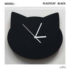 Wall clock PLASTICAT, made of black acrylic with matte silver hands. Fed with classic AA battery [this set already contains it, so its ready to use after opening the box] Measurements: 280 x 241 mm. IMPORTANT: you can choose either classic ticking mechanism, or floating one- working silently without any tick-tock. If you are interested in different size of this clock, please contact me directly, I will inform you about the price.