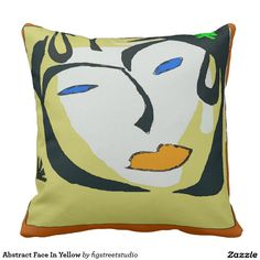 Abstract Face In Yellow Pillow