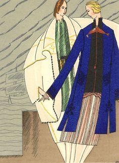 Objective Bon Ton By Benito Costume. A Las Baleares - 1921 Fashion Pochoir Lithograph