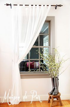 A Gray Area: Painting Trim - an interior window becomes a focal point with a warm gray paint, whitewashed curtain rod, sheer white curtain, Fall Home Decor, Autumn Home, Diy Home Decor, White Rooms, White Walls, Grey Painted Walls, Wood Curtain Rods, Warm Gray Paint, Grey Windows