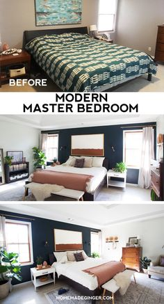 Master bedroom makeover with tons of DIY projects and thrift store finds. This mid century modern style master bedroom has and eclectic and minimal style!