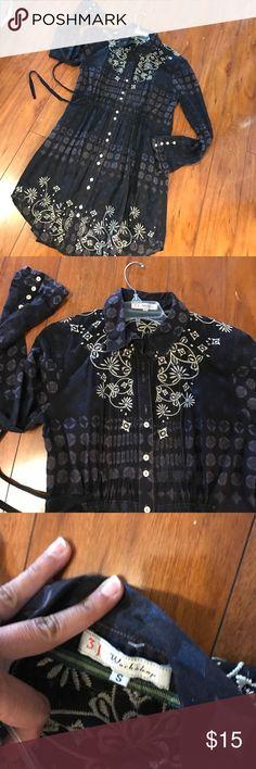 S 3 j workshop paisley shirt tunic dress embroider See pics Anthropologie Dresses Mini
