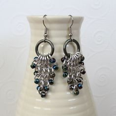 Chainmail earrings with Blue Iris seed beads by TattooedAndChained, $18.00