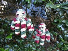 Two Octopus Babies. Holly & Ivy Christmas Octopi. Christmas Tree Ornaments. Stocking Stuffers. Plush Toy Baby Octopus Pair. Ready-to-Ship by CoastalCrochetCrafts on Etsy