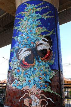 butterfly mosaic mural, metro station in Puente Alto, Chile | Mosaic Art Now