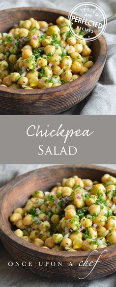Chickpea & Red Onion Salad Chickpea Recipes, Veggie Recipes, Vegetarian Recipes, Cooking Recipes, Healthy Recipes, Chickpea Meals, Simple Salad Recipes, Chives Recipes, Bon Appetit