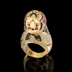 Ring 18k yellow gold, diamonds, black diamonds, colored sapphires and enamel
