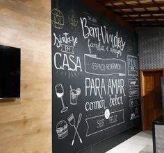 Chalkboard Restaurant, Kitchen Chalkboard, Blackboard Wall, Wall Writing, House Cake, Doodle Lettering, Decoupage Vintage, Lettering Tutorial, Restaurant Interior Design